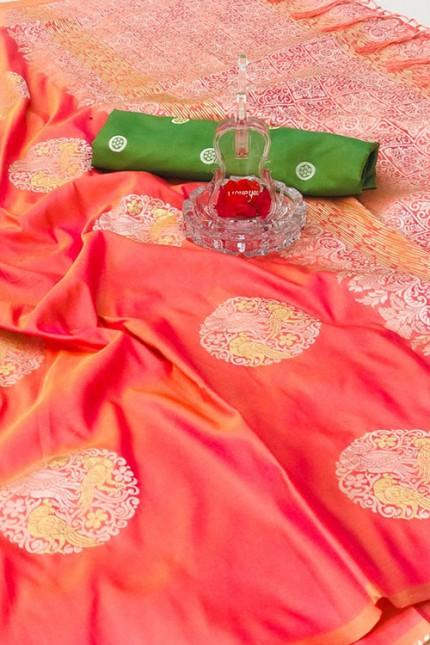 Women's Banarasi silk Weaving saree in Peach gnp007276