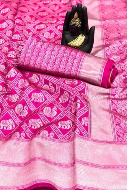 Women's Banarasi silk Weaving saree in Pink - gnp007654