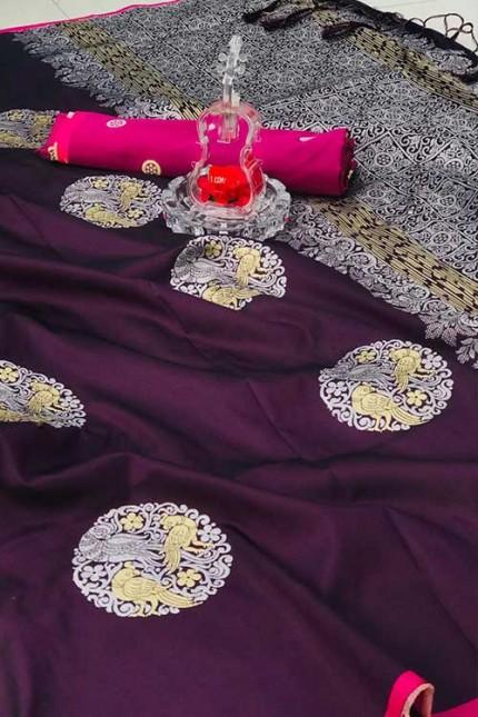 Women's Banarasi silk Weaving saree in Purple gnp007277