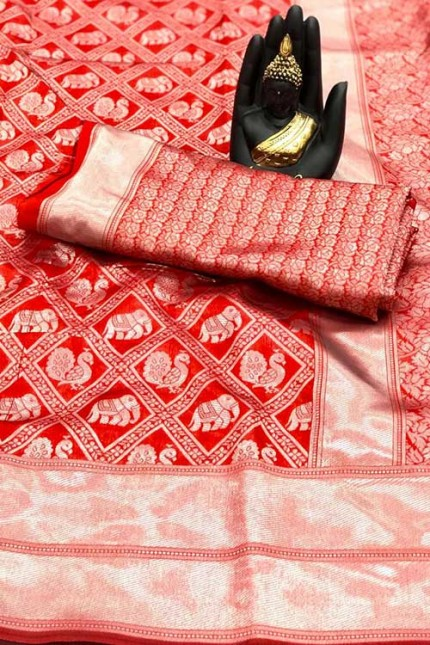Women's Banarasi silk Weaving saree in Red- gnp007656