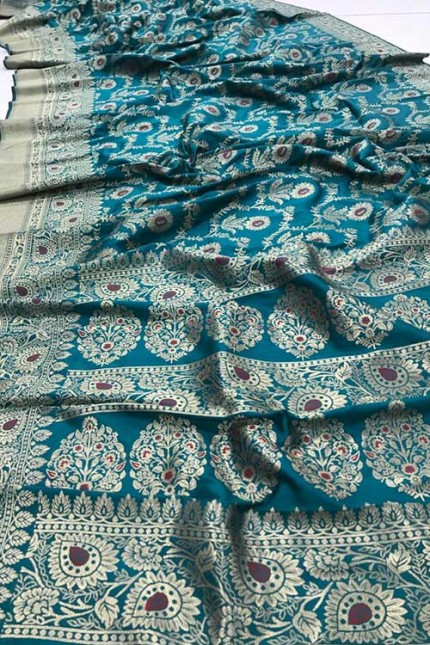Women's Banarasi silk Weaving saree in Sea Green gnp007358