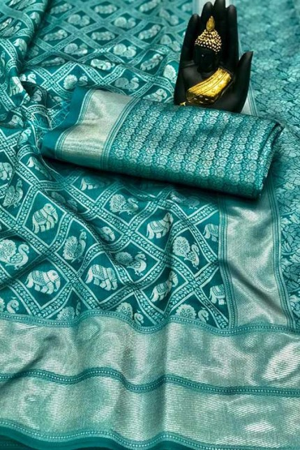 Women's Banarasi silk Weaving saree in Sea Green - gnp00765