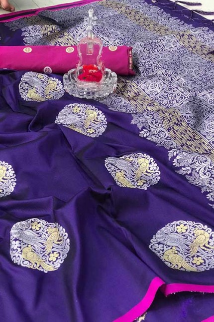 Women's Banarasi silk Weaving saree in Violet gnp007278