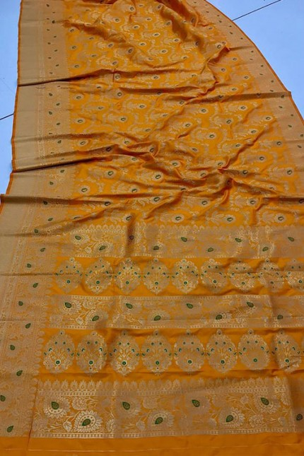 Women's Banarasi silk Weaving saree Yellow gnp007359