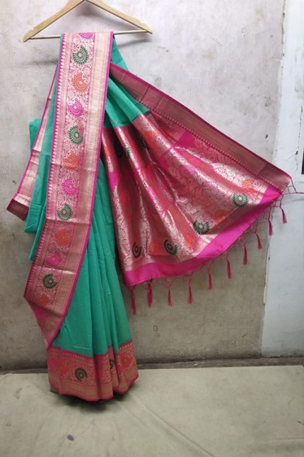 women's Green Soft Silk saree with Blouse Piece - soft silk sarees india gnp006356 (Saree)