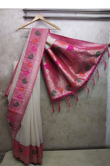 women's Off white Soft Silk saree with Blouse Piece - soft silk sarees india gnp006358