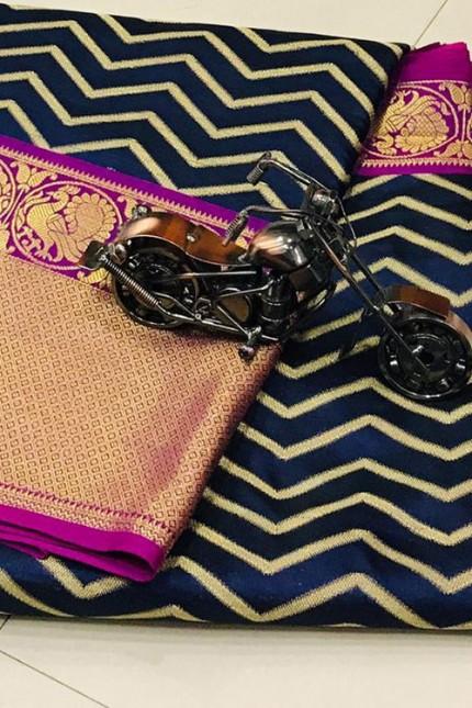 Women's Party Wear Blue Color Silk Weaving Saree - gnp006835