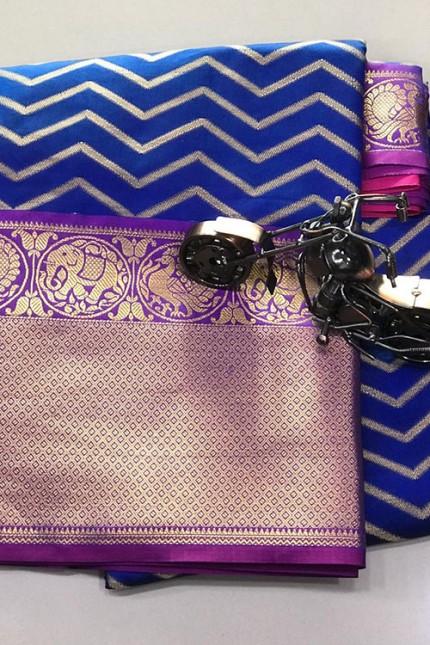 Women's Party Wear Blue Color Silk Weaving Saree - gnp006836