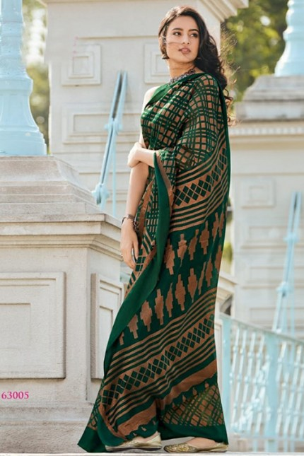 Women's Printed Brasso Printed Saree in Green gnp006727 grabandpack.com