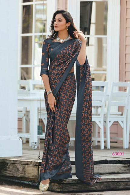 Women's Grey coloured Printed Brasso Printed Saree gnp006724 by Grab and pack