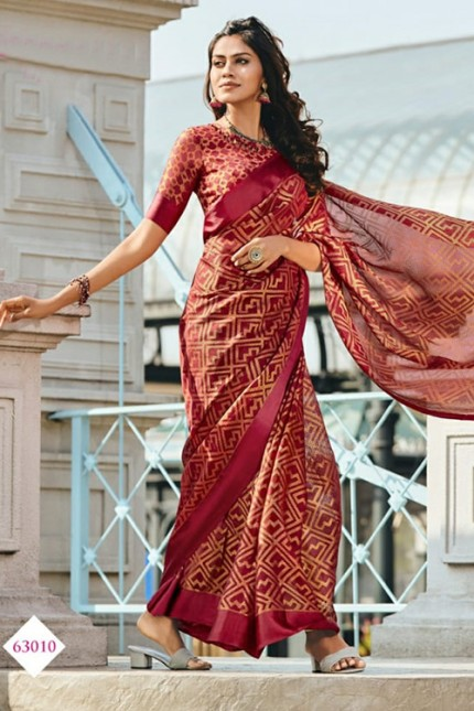 Women's Printed Brasso Printed red Saree Grab and pack.com gnp006730