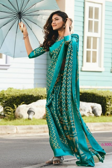 Women's Printed Brasso Printed green Saree Grab and pack gnp006732