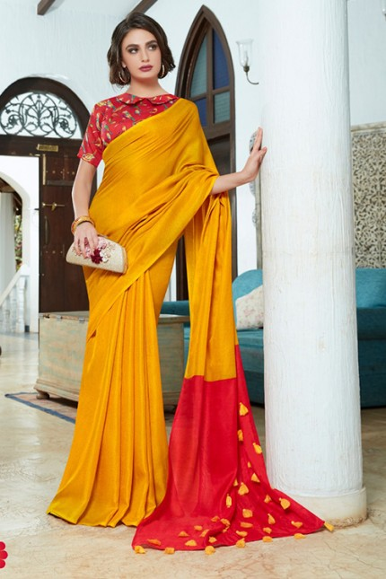 Yellow Color Cotton Silk Saree with Fancy Tassels & Digital Printed Blouse - gnp006543