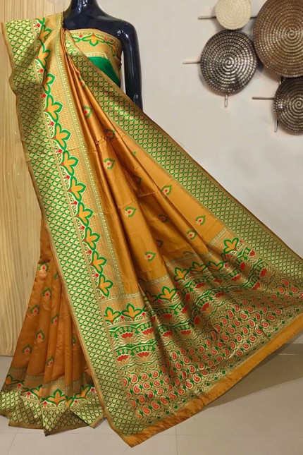 Yellow Exclusive Meenakari Contrast Border Saree - gnp008042