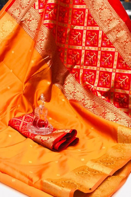 Yellow Soft Banarasi Cotton Silk Saree - gnp008000