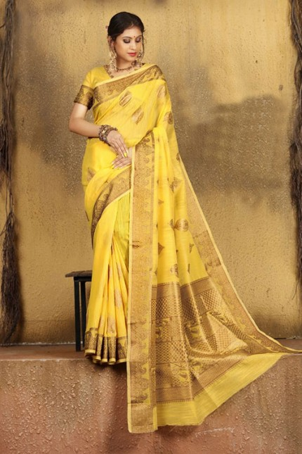 Yellow Soft Weaving Cotton with Jacquard Border - gnp007579