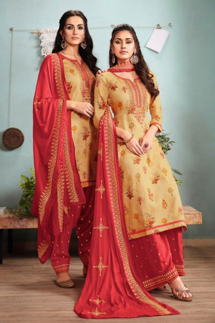 Yellow Un-Stitched Cotton Satin Suit with Dupatta - gnp007012