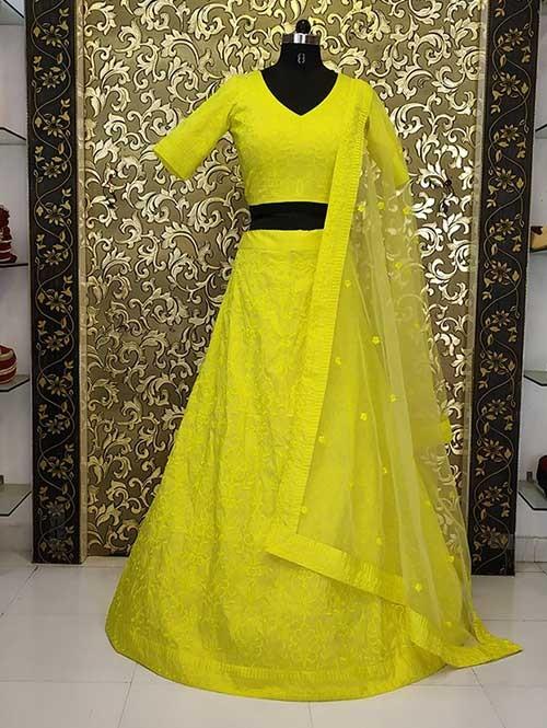 af0294baed Alia Bhatt In Yellow Colored Beautiful Embroidered Tafeta Silk Lehenga Choli