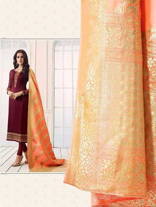 3b38cc2545f Beautiful Heavy Embroidered Georgette Salwar Suit-Red