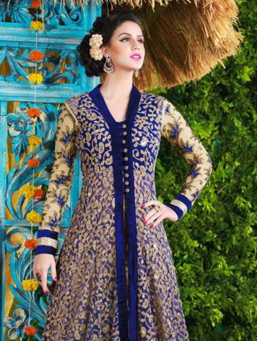 b5a907471ee Blue Colored Beautiful Embroidered Net Salwar Suit