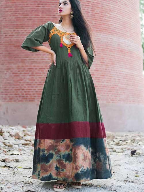f2549ea44adb Deep Green Long Linen Off- Shoulder Maxi Dress
