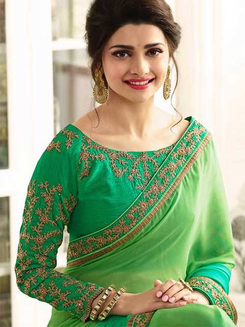 Green Color Designer Beautiful Georgette Saree With Blouse