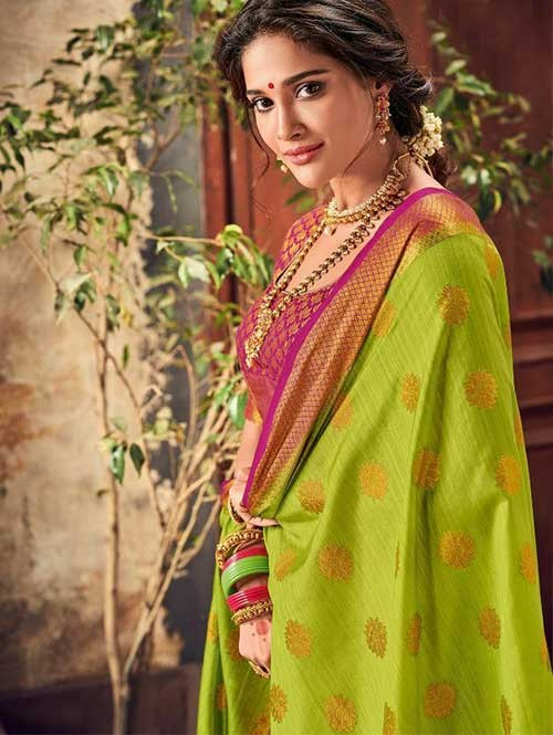 bf36e155fb Green Colored Beautiful Branded Weaving Pure Silk Saree - Rani Jhanshi. Be  the first to review this product