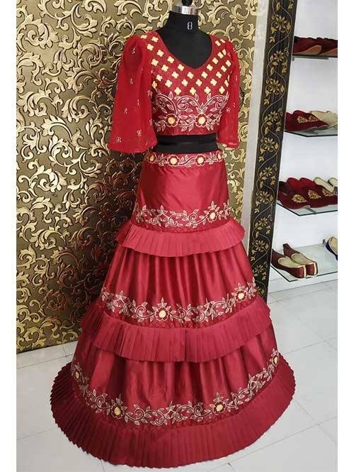 4ae8eaf4da3a2b Surbhi Chandna In Maroon Colored Three Layer Lehenga With Beautiful Crop Top.  Be the first to review this product